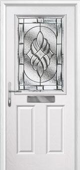 2 Panel 1 Square Elegance Composite Front Door in White