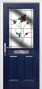 2 Panel 1 Square English Rose Composite Front Door in Blue