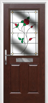 2 Panel 1 Square English Rose Composite Front Door in Darkwood