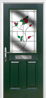 2 Panel 1 Square English Rose Composite Front Door in Green