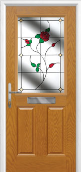 2 Panel 1 Square English Rose Composite Front Door in Oak
