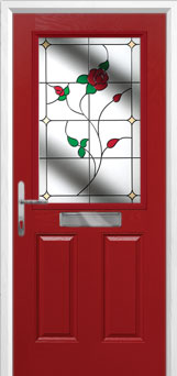 2 Panel 1 Square English Rose Composite Front Door in Red