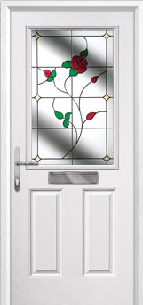 2 Panel 1 Square English Rose Composite Front Door in White
