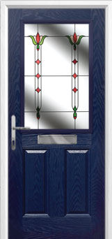 2 Panel 1 Square Fleur Composite Front Door in Blue