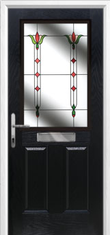 2 Panel 1 Square Fleur Composite Front Door in Black