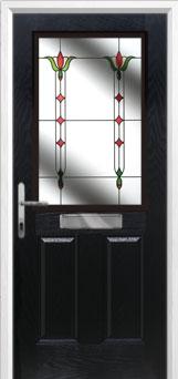 2 Panel 1 Square Fleur Composite Front Door in Black