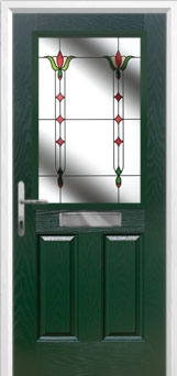 2 Panel 1 Square Fleur Composite Front Door in Green