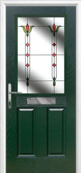 2 Panel 1 Square Fleur Composite Front Door in Green