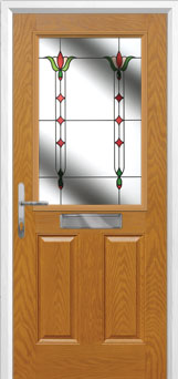 2 Panel 1 Square Fleur Composite Front Door in Oak