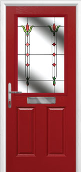 2 Panel 1 Square Fleur Composite Front Door in Red