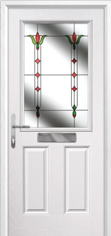 2 Panel 1 Square Fleur Composite Front Door in White