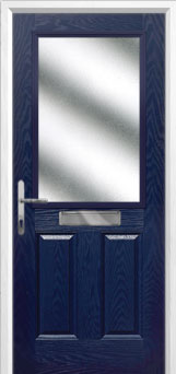 2 Panel 1 Square Glazed Composite FD30 Fire Door in Blue