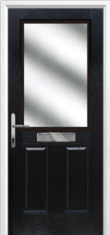 2 Panel 1 Square Glazed Composite Front Door in Black