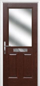2 Panel 1 Square Glazed Composite Front Door in Darkwood
