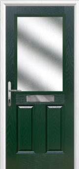 2 Panel 1 Square Glazed Composite Front Door in Green