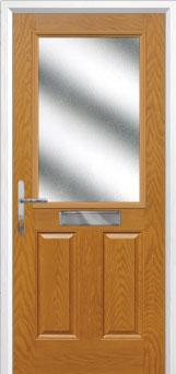 2 Panel 1 Square Glazed Composite Front Door in Oak