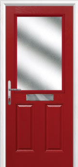 2 Panel 1 Square Glazed Composite Front Door in Red
