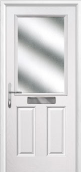 2 Panel 1 Square Glazed Composite Front Door in White