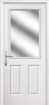 2 Panel 1 Square Glazed Composite Back Door in White