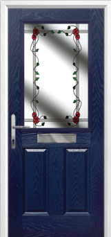2 Panel 1 Square Mackintosh Rose Composite Front Door in Blue