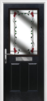 2 Panel 1 Square Mackintosh Rose Composite Front Door in Black