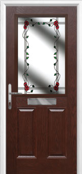2 Panel 1 Square Mackintosh Rose Composite Front Door in Darkwood