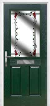 2 Panel 1 Square Mackintosh Rose Composite Front Door in Green