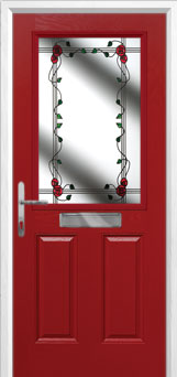 2 Panel 1 Square Mackintosh Rose Composite Front Door in Red