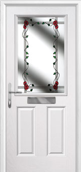 2 Panel 1 Square Mackintosh Rose Composite Front Door in White