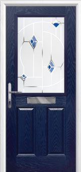 2 Panel 1 Square Murano Composite Front Door in Blue