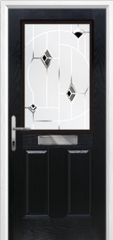 2 Panel 1 Square Murano Composite Front Door in Black