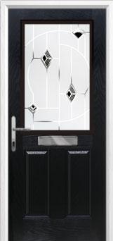 2 Panel 1 Square Murano Composite Front Door in Black