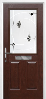 2 Panel 1 Square Murano Composite Front Door in Darkwood