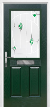 2 Panel 1 Square Murano Composite Front Door in Green