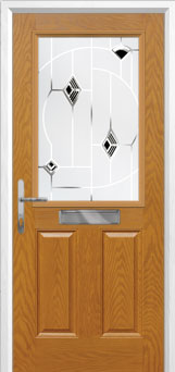 2 Panel 1 Square Murano Composite Front Door in Oak