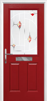 2 Panel 1 Square Murano Composite Front Door in Red