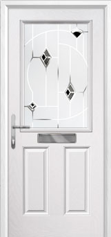 2 Panel 1 Square Murano Composite Front Door in White