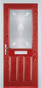 2 Panel 1 Square Staxton Composite Front Door in Red