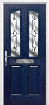 2 Panel 2 Angle Crystal Bohemia Composite Front Door in Blue