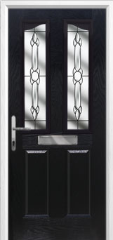 2 Panel 2 Angle Crystal Bohemia Composite Front Door in Black