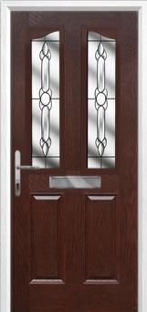 2 Panel 2 Angle Crystal Bohemia Composite Front Door in Darkwood