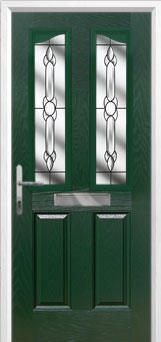 2 Panel 2 Angle Crystal Bohemia Composite Front Door in Green