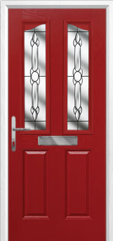 2 Panel 2 Angle Crystal Bohemia Composite Front Door in Red