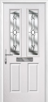 2 Panel 2 Angle Crystal Bohemia Composite Front Door in White