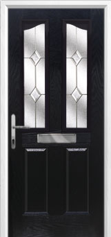 2 Panel 2 Angle Classic Composite Front Door in Black