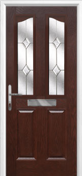 2 Panel 2 Angle Classic Composite Front Door in Darkwood