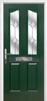 2 Panel 2 Angle Classic Composite Front Door in Green