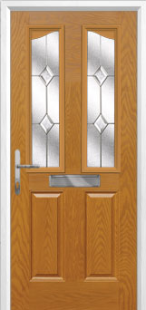 2 Panel 2 Angle Classic Composite Front Door in Oak