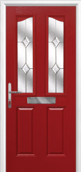 2 Panel 2 Angle Classic Composite Front Door in Red