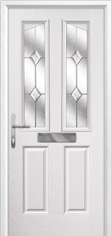 2 Panel 2 Angle Classic Composite Front Door in White